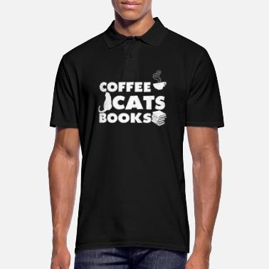 Bookies Reader Coffee Cats Books Gift - Men's Polo Shirt