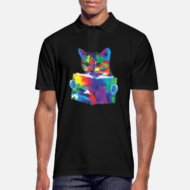 Bookies Reader Rainbow Colored Cat Gift - Men's Polo Shirt