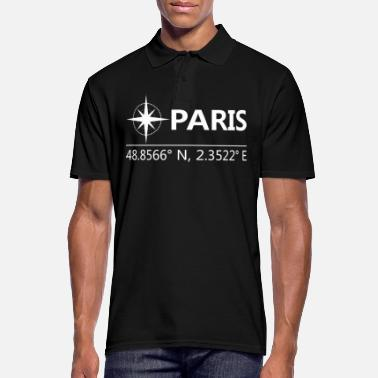 Geographic Paris France Geographical coordinates - Men's Polo Shirt