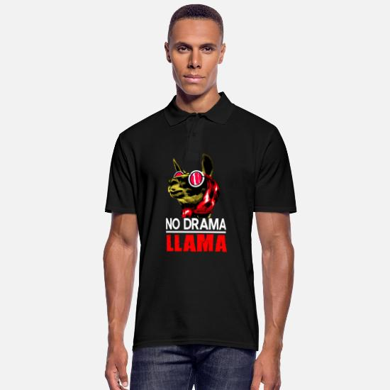 South America Polo Shirts - Lama drama spit alpaca Llama Andes gift zoo - Men's Polo Shirt black