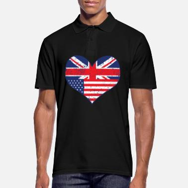 Uk USA UK drapeau coeur - Polo Homme