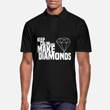Cash Money KEEP CALM AND MAKE DIAMONDS Modern 4 white - Men's Polo Shirt