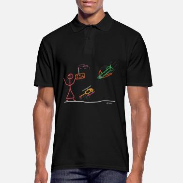 Stick Figure Model maker woman stick figure airplane Heli - Men's Polo Shirt