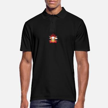 Roast BBQ - Meat Fire Beer Skull in the best grill master - Men's Polo Shirt