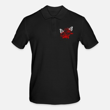 Rose Rose Butterfly Rose Butterfly - Men's Polo Shirt