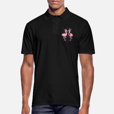 Winter Flamingo's sneeuw winter Kerstmis - Mannen poloshirt