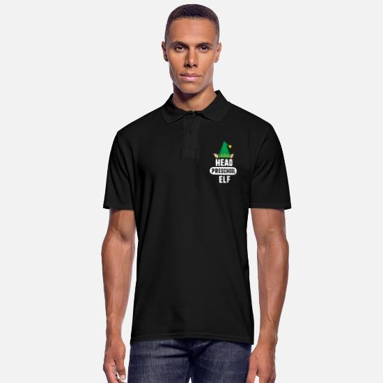 Lunch Lady Gift Polo Shirts - Head Lunch Elf Christmas TShirt Lunch Lady Gift - Men's Polo Shirt black