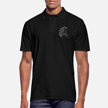 Greyhound Horse in the wind in white - Men's Polo Shirt
