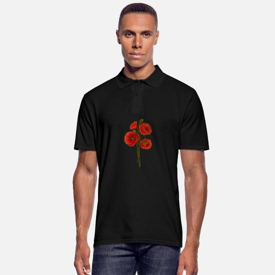 Poppy Polo Shirts - Red Poppy Flower Wear it Proudly Fight Sacrifice - Men's Polo Shirt black