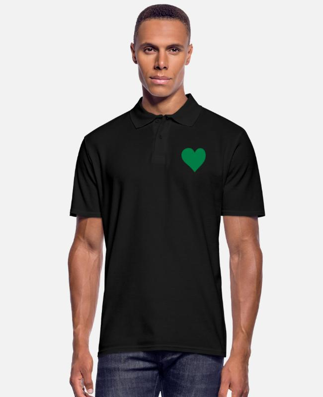 Hjärta Camisetas polo - Green Heart Love - Camiseta polo hombre negro