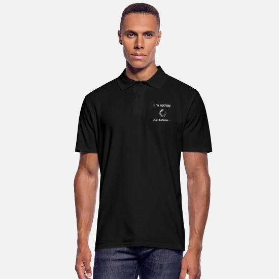 Funny Polo Shirts - I'm Not Lazy - I'm Buffering (White) - Men's Polo Shirt black