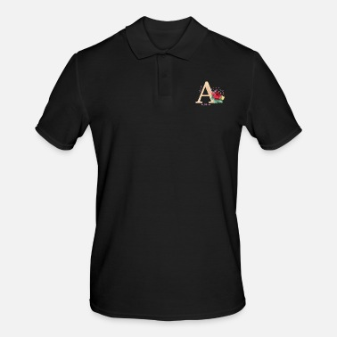 Initial Letter initial letter A initials roses - Men's Polo Shirt