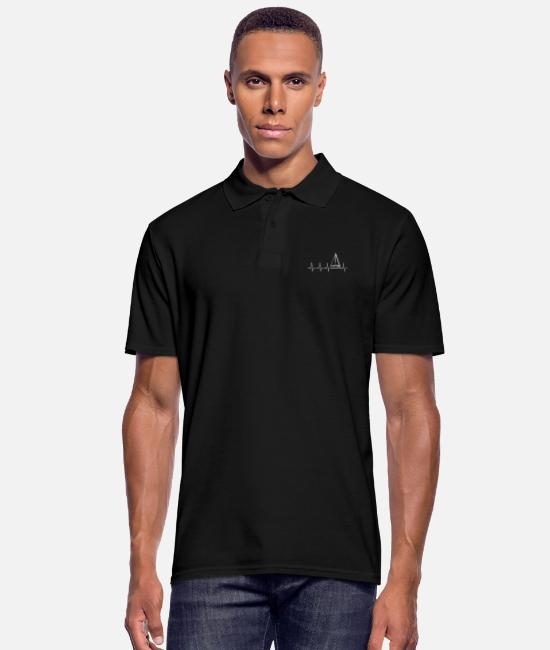 Water Polo Shirts - I love sailing - heartbeat - Men's Polo Shirt black