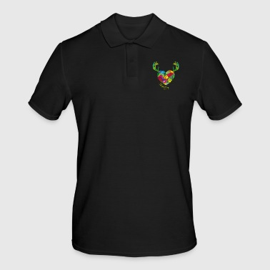 Poly heart with antlers | tradition - Men's Polo Shirt