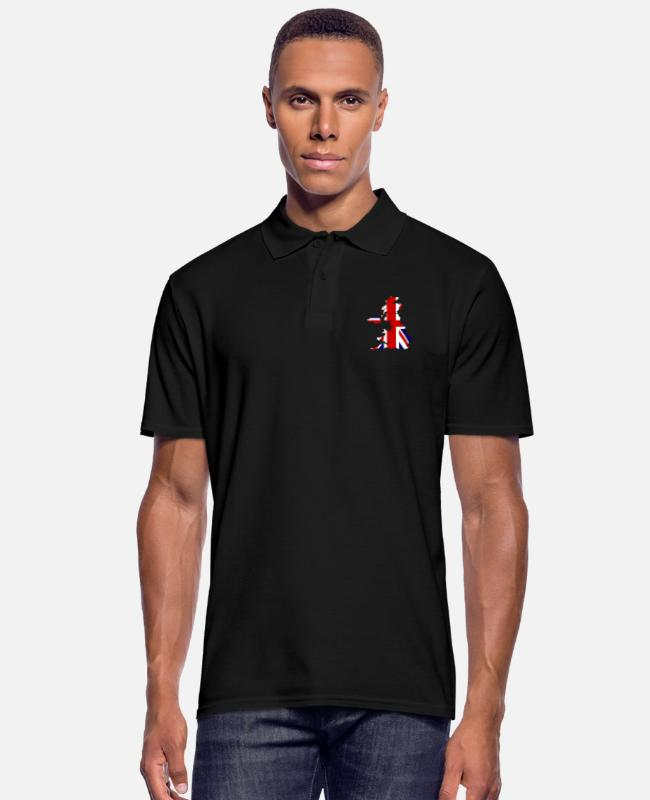 British Polo Shirts - union flag - Men's Polo Shirt black
