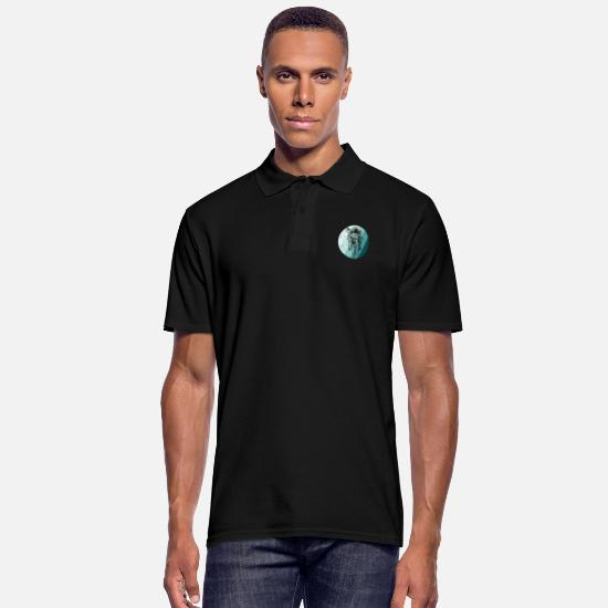 Moon Landing Polo Shirts - Astronaut in circle distressed look - Men's Polo Shirt black