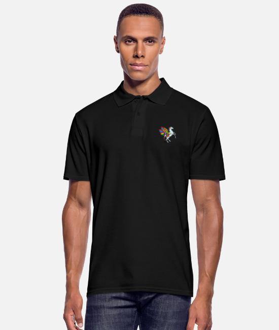 Gay Pride Polo Shirts - flying unicorn fable - Men's Polo Shirt black