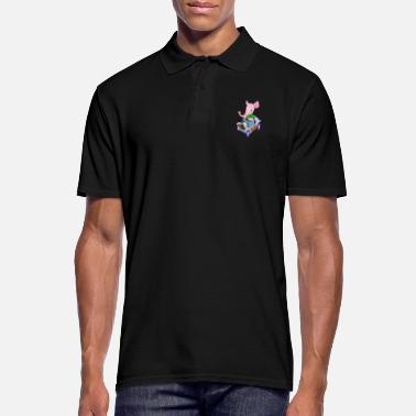 Vintage Elephant in a vintage car - Men's Polo Shirt