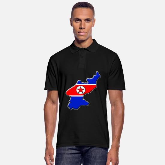 Travel Polo Shirts - North Korea flag map - Men's Polo Shirt black