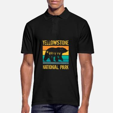 Ny Ours vintage du parc national de Yellowstone - Polo Homme