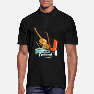 Jazz Violin gift music saxophone trumpet drum - Men's Polo Shirt