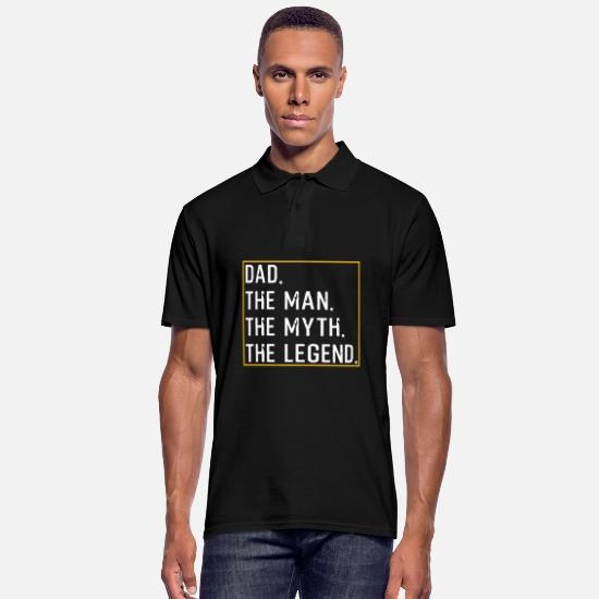 Father's Day Polo Shirts - Dad The Man The Myth The Legend - Men's Polo Shirt black