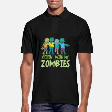 Pirate Halloween Chillin' With My Zombies Fright Night - Men's Polo Shirt