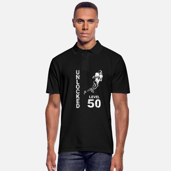 Birthday Polo Shirts - American Football Touchdown 50th Birthday Gift - Men's Polo Shirt black