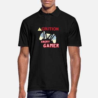 Gamer Caution Angry Gamer gambler gift computer game - Men's Polo Shirt