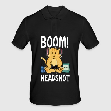 Head Shot Boom Headshot / Boom head shot / Cat / Gaming - Men's Polo Shirt