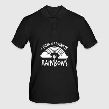 LGBT Gay Pride Lesbian I find Happines in Rainbows white - Men's Polo Shirt