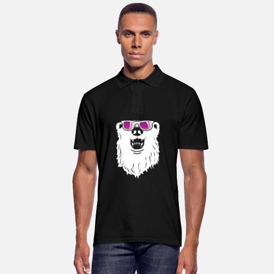 Grizzly Polo Shirts - Polar Bear Sunglasses Cool Winter Animal Gift - Men's Polo Shirt black