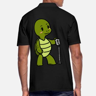 Drawing Little singer musician turtle animals - Men's Polo Shirt
