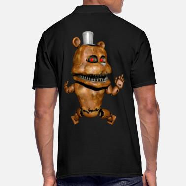 Devil Male Robot monster teddy bear middle finger back - Men's Polo Shirt