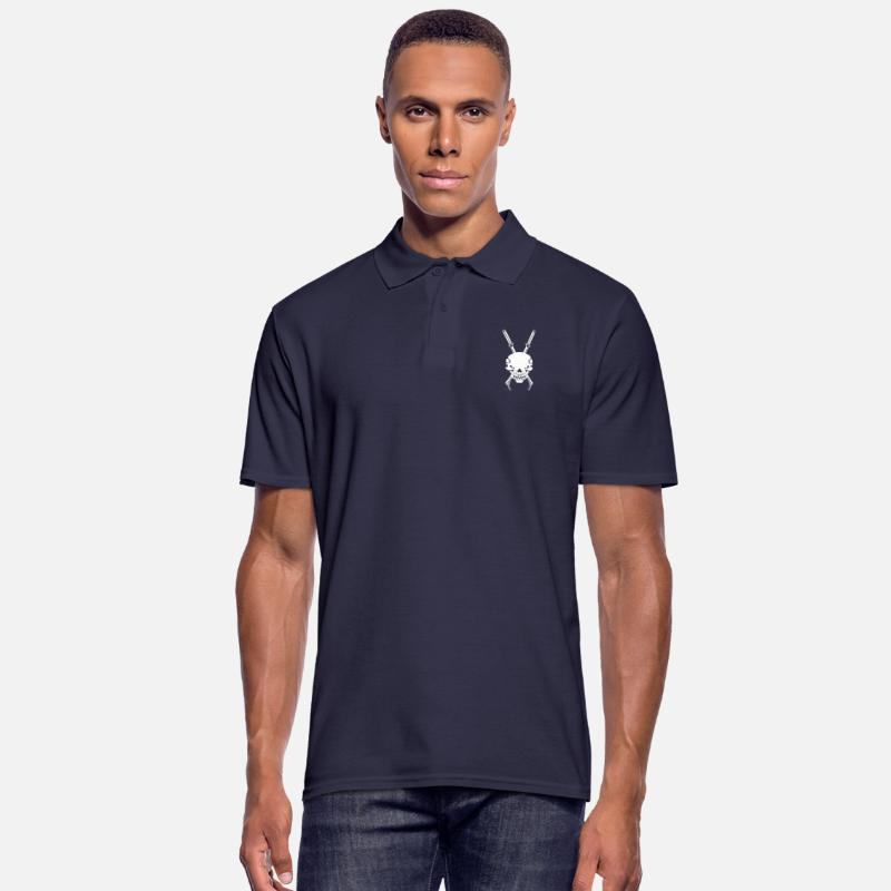 Goth Polo Shirts - Skull No.1 with swords - Men's Polo Shirt navy