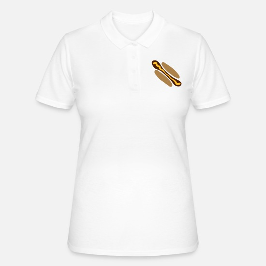Hog Polo Shirts - Hot dog with mustard - Women's Polo Shirt white