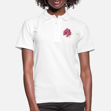 Red Pink Rose Watercolor Design - Frauen Poloshirt