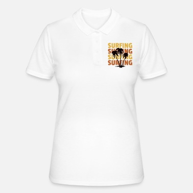 Surfing brown with palm trees - Women's Polo Shirt