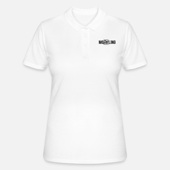Mode Poloshirts - Model Catwalk Mode Modeln Topmodel Fashion - Frauen Poloshirt Weiß