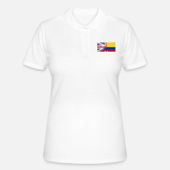 Colombia Polo Shirts - British Colombian Half Colombia Half UK Flag - Women's Polo Shirt white