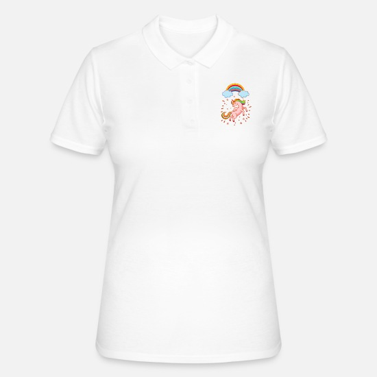 For Her Polo Shirts - Female happy unicorn with rainbow - Women's Polo Shirt white