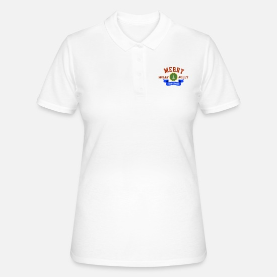 Gift Idea Polo Shirts - Merry Holly Jolly Christmas - Women's Polo Shirt white
