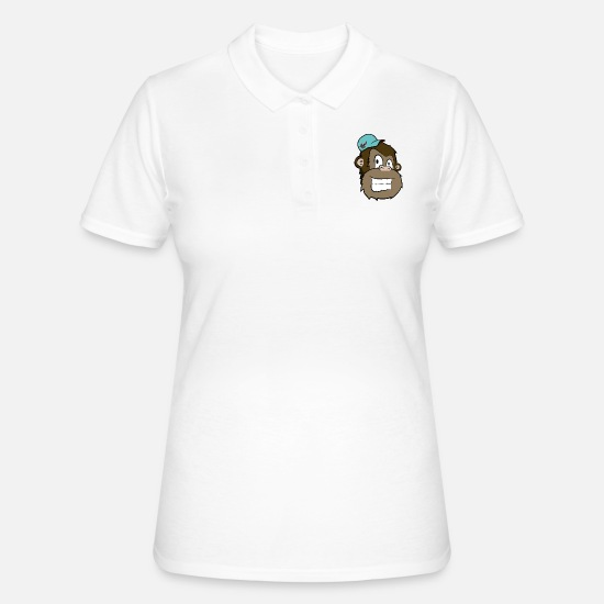 Sk8 Polo Shirts - Monkey Head - Women's Polo Shirt white