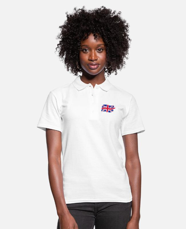Great Britain Polo Shirts - unionjackbrush - Women's Polo Shirt white