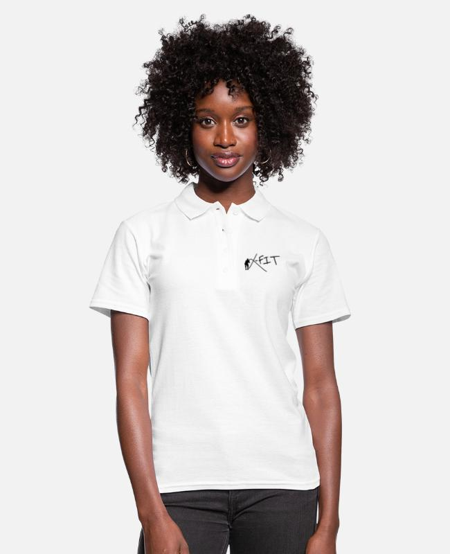 Fit Camisetas polo - logotipo de fitness cross fit - Camiseta polo mujer blanco
