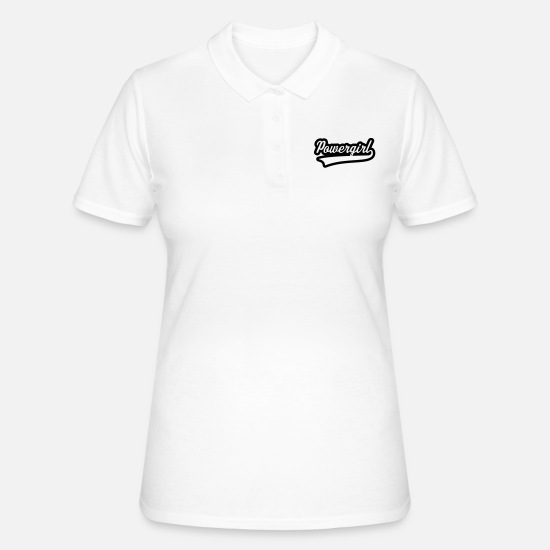 Emancipation Polo Shirts - Powergirl Schriftzug (1C) - Women's Polo Shirt white