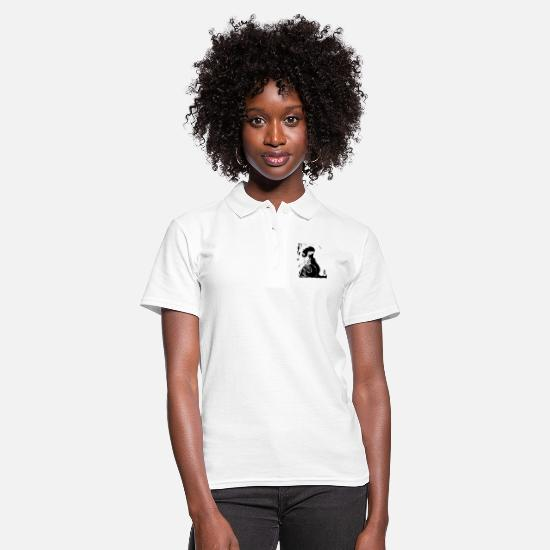 Haired Polo Shirts - girl with long hair - Women's Polo Shirt white
