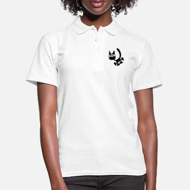 Three-Eyed Cartoon Cat Vector Graphic by Cheerful - Women's Polo Shirt
