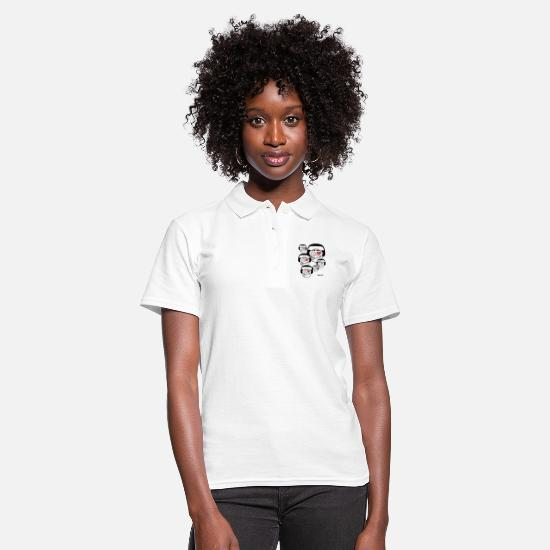 Song Polo Shirts - Eye Love Music Emoticons With Headphones - Women's Polo Shirt white