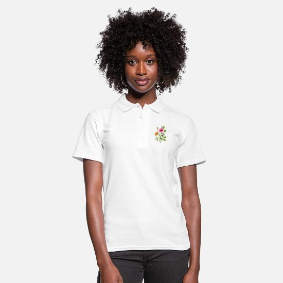 Occasion Polo Shirts - flowers - Women's Polo Shirt white